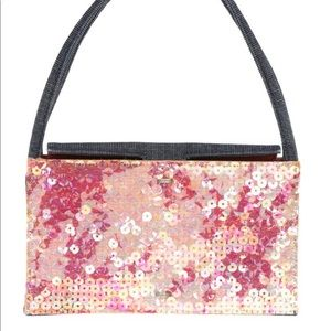 Auth Mini Chanel Pink Sequin Denim Pouchette Bag